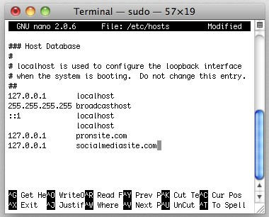 Editing the hosts file on a mac using Terminal