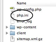 WordPress php.ini file