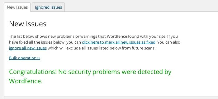 WordFence Scan Clean