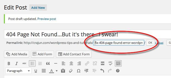 WordPress Permalink Edit