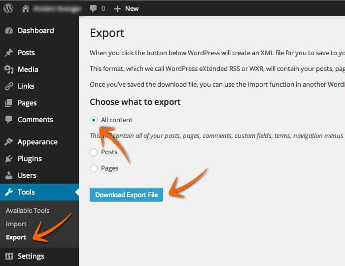 WordPress XML File Export